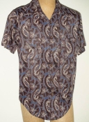Men's 70s Polyester Short Sleeve Disco Shirt- M/LG