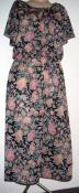 80s Disco Dress Floral Print Flounce