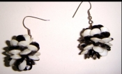 60s Black and White GO GO GIRL Mod Plastic Earrings