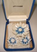 60s Daisy Flower Pin and Earring Set $8