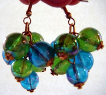 60s Blue and Green Clear Plastic (Lucite?) Earrings