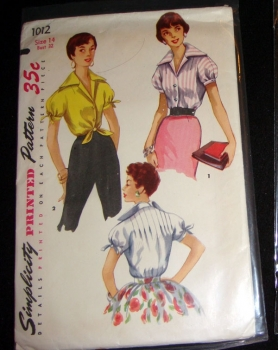 Simplicity 1012 - 50s Sewing Pattern Vintage Shirt Short Sleeve Tie Front