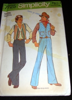 Simplicity 7725 - Teen Boy's Vest and Pants Sewing Pattern 1976