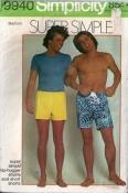 9940 Simplicity 70s Hip Hugger Shorts Sewing Pattern