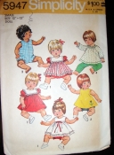 "5947 Simplicity - 1973 12""-13"" Doll Clothes Sewing Pattern"