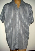 60s Black and Grey Men's XL Short Sleeve Button Down Work Shirt