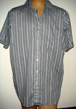60s Black and Grey Men's XL Short Sleeve Button Down Work Shirt