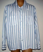 Blue and White Long Sleeve Men's 60s Shirt