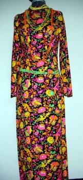 Real 60s Vintage Blacklight Maxi Dress