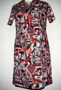 Authentic Vintage 60s Mini Dress -Mod Print Ladies- Bust 42