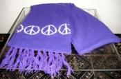 Vintage 60s Purple Peace Sign Scarf -Winter Knit