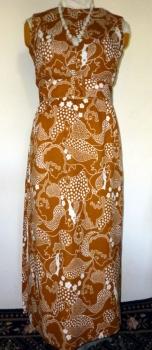 60s Mid Century Mod Maxi Dress - Sleeveless, Belted, Escher Style Print with Hidden Faces