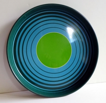 60s Mid-Century Modern Metal Serving / Rolling Tray - 60s England MOD TARGET Green and Blue