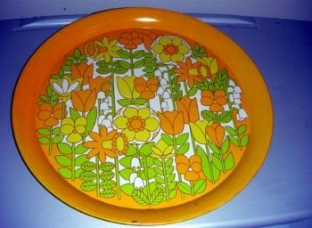 70s Kitchen Collectible Serving Tray Orange Yellow Flowers Hallmark $10