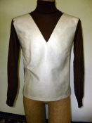 $5 sale! Men's 60s Space Age Vinyl Front Sweater Brown White  SM