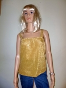 70s Disco Shirt Blouse Sexy Gold Sparkle Camisole SM