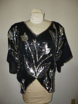 Vintage 80s Black Silver Butterfly Shirt 100% silk LG Sequined
