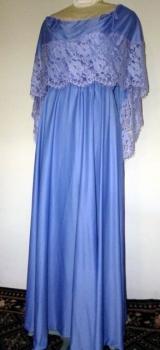 Disco Maxi Dress - Blue Lace Shawl Collar Design LG