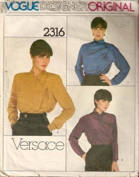 Vintage Vogue 2316 Designer Original Versace Shirt Sewing Pattern