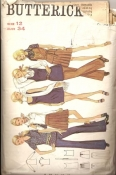 Butterick 5658 Sewing Pattern 60s Jumper Top or Bell Bottom Pants