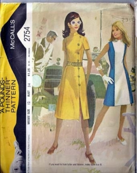 McCall's 2754 Pounds Thinner Dress Pattern Vintage Sewing 1971