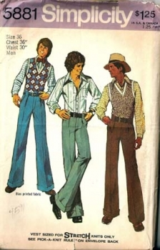 Simplicity 5881 Boy's Vintage Sewing Pattern Cuffed Disco Pants, Disco Shirt Vest - Chest 36