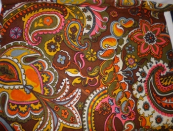 60s Paisely Print Earth Tones Vintage Fabric Cotton Blend $32- 2 yds 24 inches