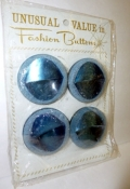 Vintage Buttons 60s Blue Large Plastic Birds Eye 4 Mint on Card $10