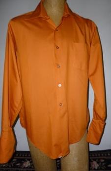 Men's Vintage 60s Shirt - Cuff Link Shirt Liberty House by Van Heusen Orange Peach 46 Chest X LG