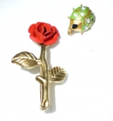 Vintage Jewerly Pins Red Rose and Green Beetle Bug 60s
