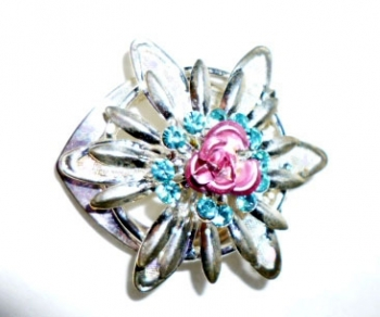 Vintage Painted Flower Scarf Clip 50s Jewerly