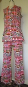 Genuine 60s Sleeveless Bellbottom Pantsuit Pink Print 2- Piece Polyester Suit
