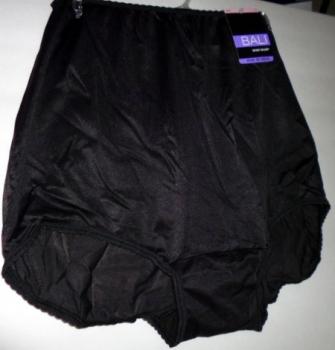 Black Nylon Brief Panties - Bali Full Coverage Skimp Skamp Underwear Vintage Style New With Tags
