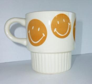 60s USA Smile Face Coffee Mug Ceramic