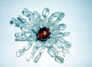 Clear Glass Beaded Flower Pin Hand Made