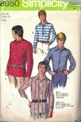 Simpicity 8950 Men's 1970 Pullover Tunic Shirt Sewing Pattern