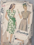 Simplicity 1668 1940s One Piece Dress Sewing Pattern Size 20 Bust 38 inches