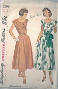 Simplicity 2509 40s 50s One Piece Vintage Dress Sewing Pattern Bust 32