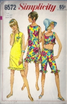Simplicity 6572 60s Sewing Pattern Knee Length Ruffle Pants and Sleeveless Crop Shirt, Dress Teen Bust 34 Waist Waist 26 Hips 36 inches