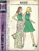 McCall's 3596 Carefree Halter, Skirt and Wide Bell Pants Sewing Pattern Size 10 Bust 32.5 PETITE