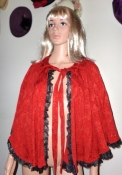 Red Embossed Vintage Cape Black Lace Trim Small-Medium