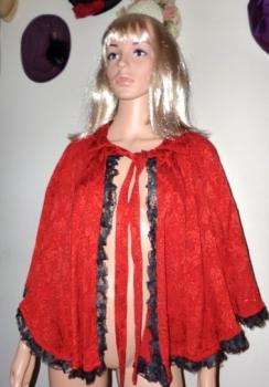 Red Embossed Vintage Cape Black Lace Trim Small-Medium