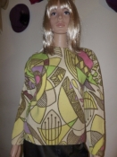 60s Wool Sweater Mid Century Modern Screen Print by Darlene