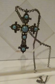 70s Necklace Faux Turquoise Cross with Chain - Detailed Design Great Easter Gift