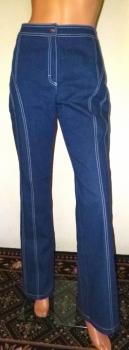 Escada White Top Stitch Blue Denim Bell Bottom Jeans