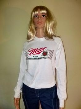 Vintage 80s Miller Beer Advertising Sweatshirt UNWORN Chest 36 Inches