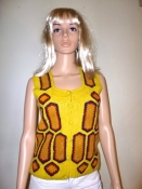 Knit 70s Button-Down Sweater Vest with Suede Crochet Inserts Yellow MED
