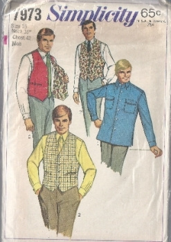 Simplicity 7973 Men's Shirt and Reversible Vest 1968 Sewing Pattern- Chest 42