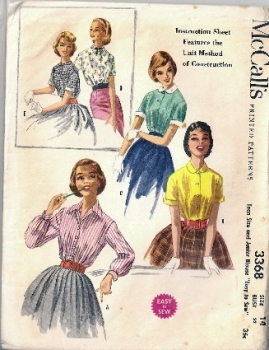 McCall;'s 3368 Easy to Sew 1950s Blouse Sewing Pattern Bust 32 inches