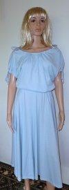 Blue 80s Disco Dress - Light Blue White Polka Dot Dress